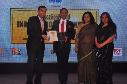 Capt. Rohit Bajaj, School Director, Pathways School Gurgaon, With Ms Dimpu Sharma(Pricipal Middle School) and Ms Avnita Gupta (Principal Primary School) collecting the award