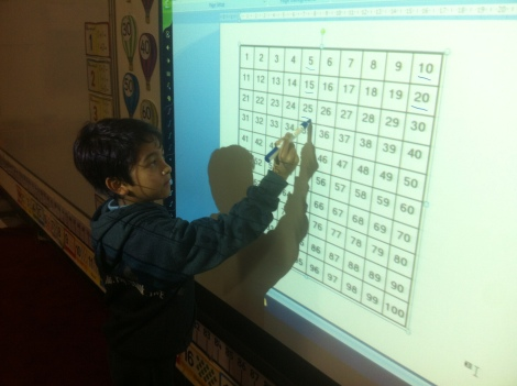 Pathways School Noida_Students using interactive board